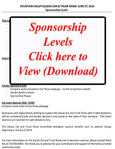 Welcome To The Fountain Valley Classic Car And Truck Show Website - Car show sponsorship levels